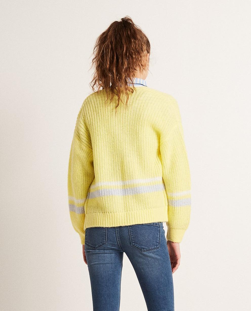 Strickjacken - Hellgelb - Colorblock-Jacke aus einer luxuriösen Wollmischung